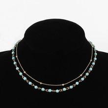 купить New Fashion Multilayer Chain Choker Necklace Handmade Beads Stone Calvicle Statement Necklace Collar Jewelry XL402 дешево