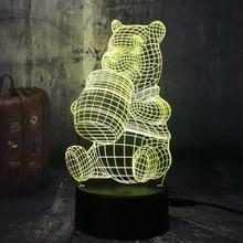 3D Cute Honey Winnie Bear LED Night Light Bulb Decoration Lights Kid Gift Cartoon Novelty Atmosphere Touch Mood Table Lamp Lava flashing glitter lava lamp atmosphere led changable night light