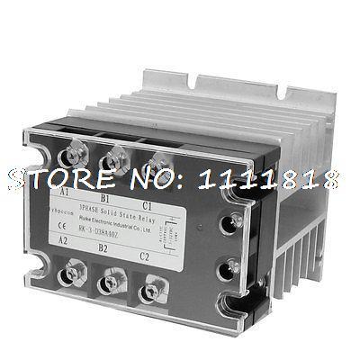 цена на Control 5-32VDC Load 380VAC 40A SSR Solid State Relay w Heat Sink