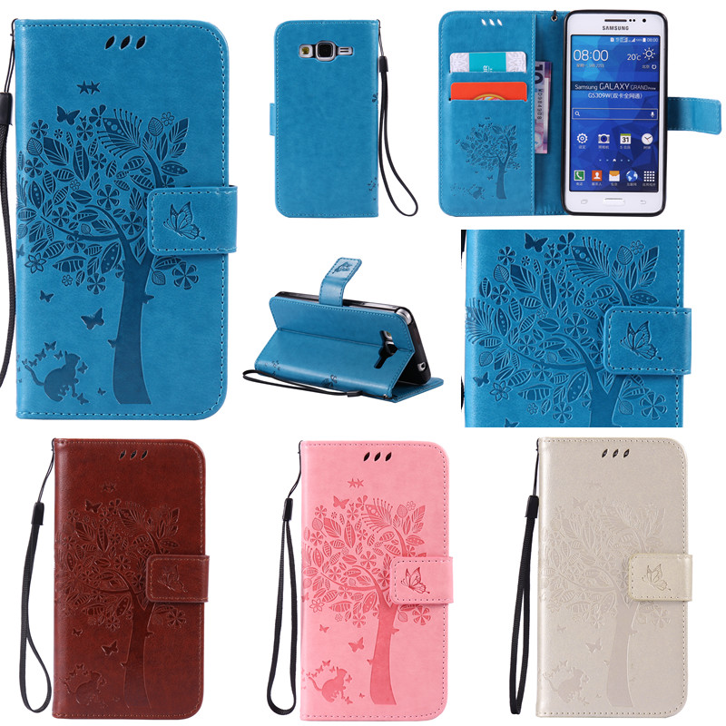 New Tree and Cat Printing Wallet Flip Funda Coque <font><b>Case</b></font> For <font><b>Samsung</b></font> <font><b>Galaxy</b></font> <font><b>Core</b></font> <font><b>Prime</b></font> <font><b>G360</b></font>/Grand <font><b>Prime</b></font> G530/Grand Neo I9060 Cover image