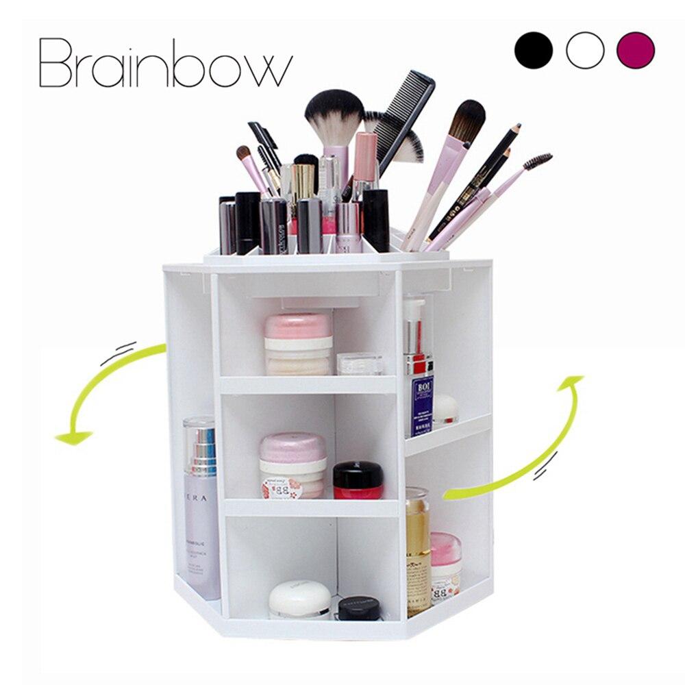 Brainbow 360 Degree Rotating Makeup Organizer Multifunction Jewelry Cosmetic Lipstick Brushes Make Up Organizer Plastic Storage