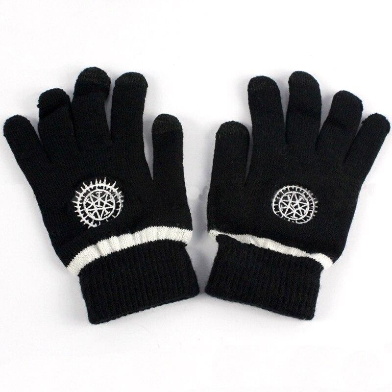 c029b24b4 Anime Black Butler Oddo's eye Logo Glove Full Finger Screen Touchable Plush Knit  Gloves Winter Warm Handschoenen Cosplay Gifts
