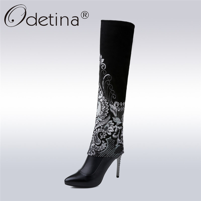 Odetina 2018 New Fashion Women Genuine Leather Sexy Knee High Boots Pointed Toe Bling Stilettos Thin High Heel Side Zipper Boots jialuowei women sexy fashion shoes lace up knee high thin high heel platform thigh high boots pointed stiletto zip leather boots