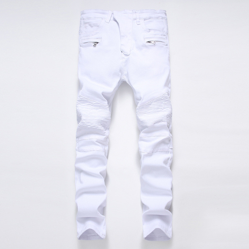 New Dropshipping Punk Street Men Pleated Jeans Slim Fit Hip Hop Denim Trousers High Quality Motorcycle Pants Plus size 28-42