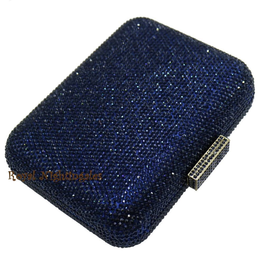 Luxury Navy Blue Evening Bags And Crystal Box Clutch For Women Party Purses In From Luggage On Aliexpress