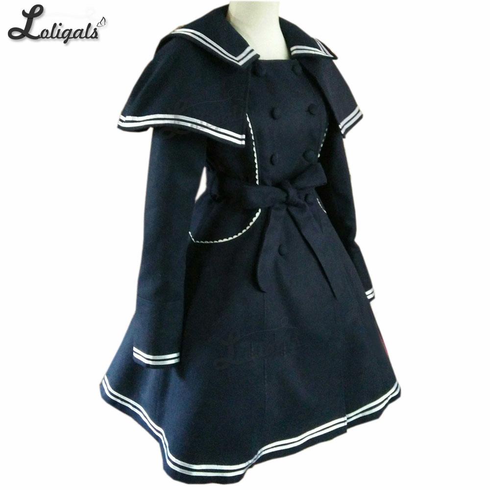 Style De Col Plus Mesure Manteau Marine Fille Avec Taille Bleu Long Lolita Sailor La Cape Carré Sur Femmes XTwkuOPiZl