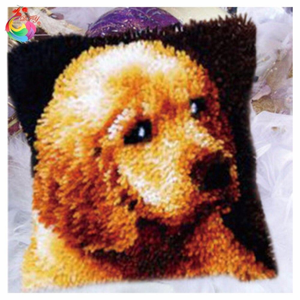HEIßER Rasthaken Kissen Kits Geschenk DIY Hand Häkeln Dekokissen Unfinished Garn Stickerei Kissenbezug Tiere Hund 5263