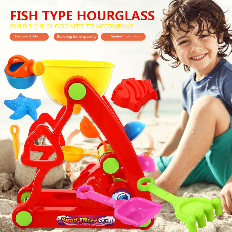 Водяное Колесо набор пляжных игрушек песочные часы пляжные 6 шт для песка колесо пластиковые развлечения пляжные принадлежности обучение классная настольная игрушка вода