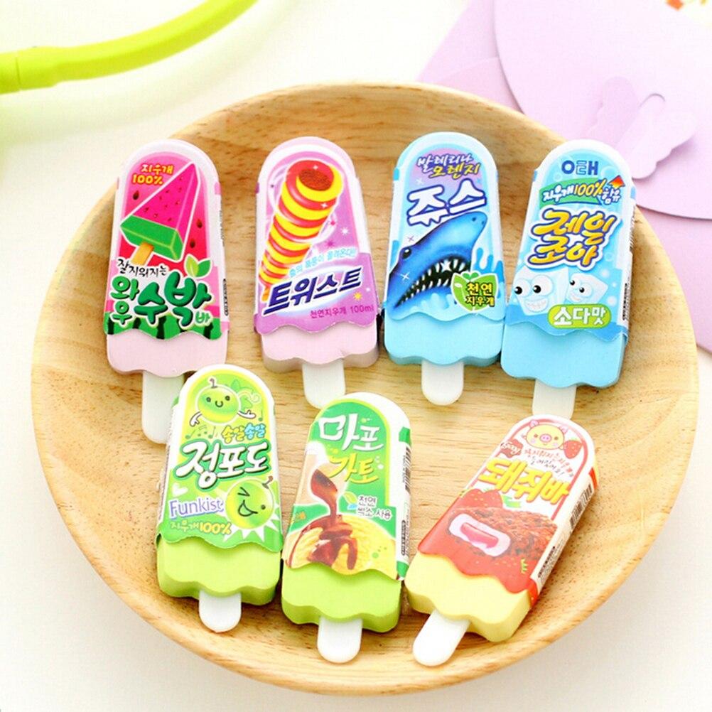 1pc New Free Shipping Kawaii Eraser Ice Cream Eraser Escolar Goma De Borrar Rubber For Kids School Supplies Size: 7.0x2.7x0.8cm