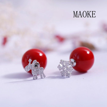 Promotions S925 Cute Fawn Snowflake Stud Earrings Fashion Jewelry for Women's Fashion Gifts image