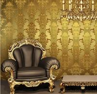 High Quality Gold Foil PVC Luxury Damask Stripe Wallpaper For Living Room TV Background
