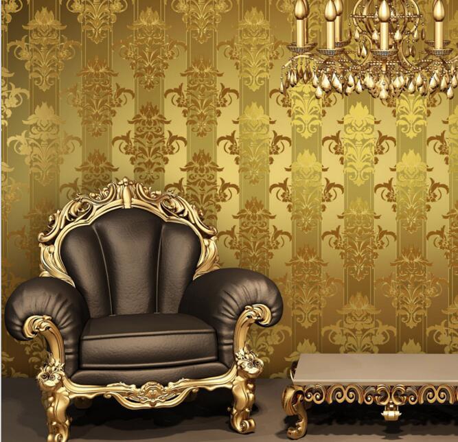 High quality gold foil PVC luxury damask stripe wallpaper