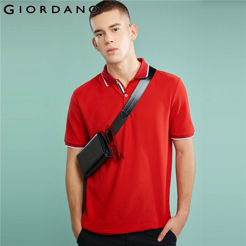 Image 5 - Giordano Men Polo Shirt Men Pique Fabric Slim Fit Short Sleeves Contrast Color Polo Men Shirt Smooth Durable Camisa Polo-in Polo from Men's Clothing