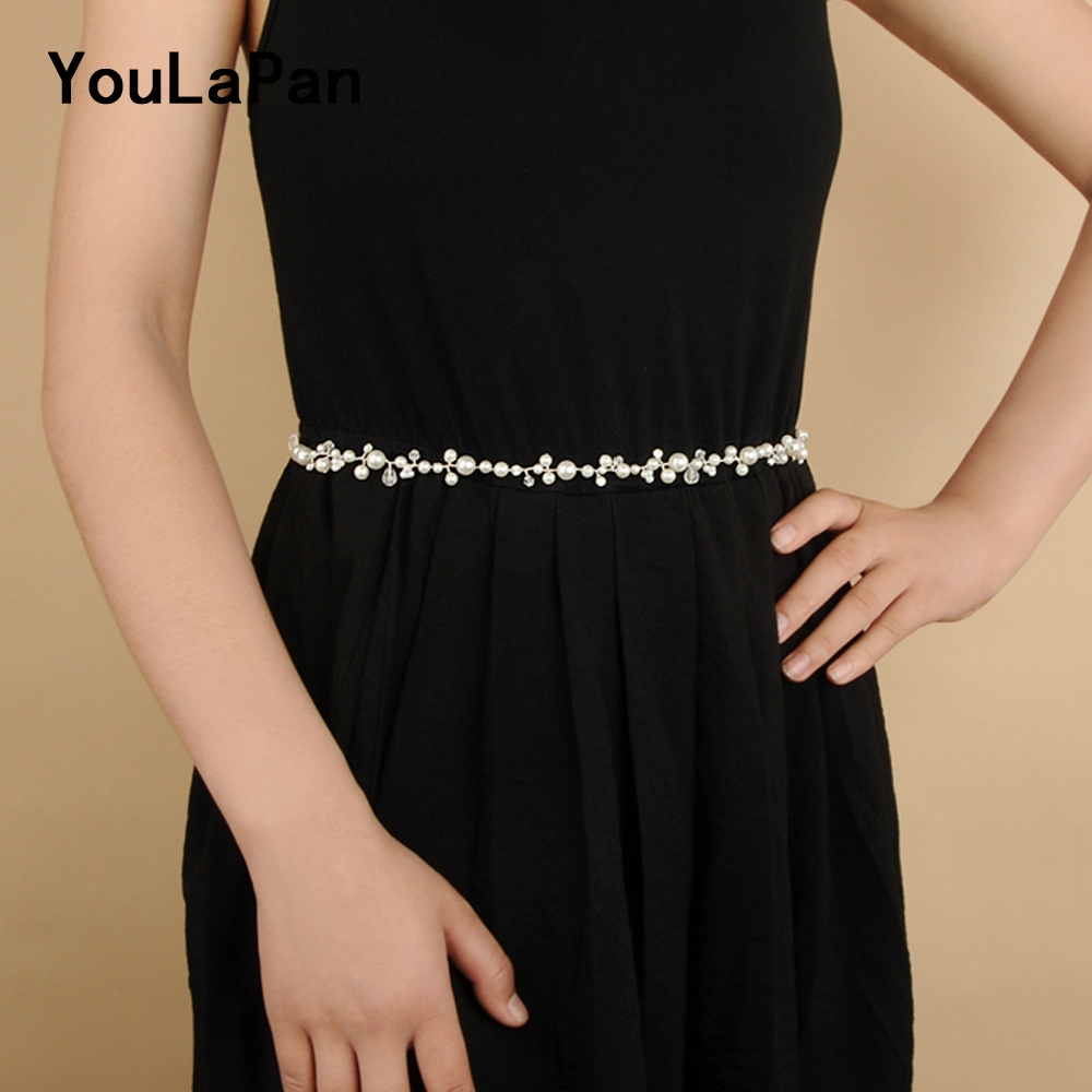 YouLaPan SH03 Sliver Crystal Bridal Belts Handmade Wedding Thin Belts For Dress Pearl Wedding Sash Belt For Wedding Accessories