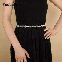 YouLaPan SH03 sliver Crystal Bridal Belts handmade Wedding thin for Dress Pearl Sash belt Accessories