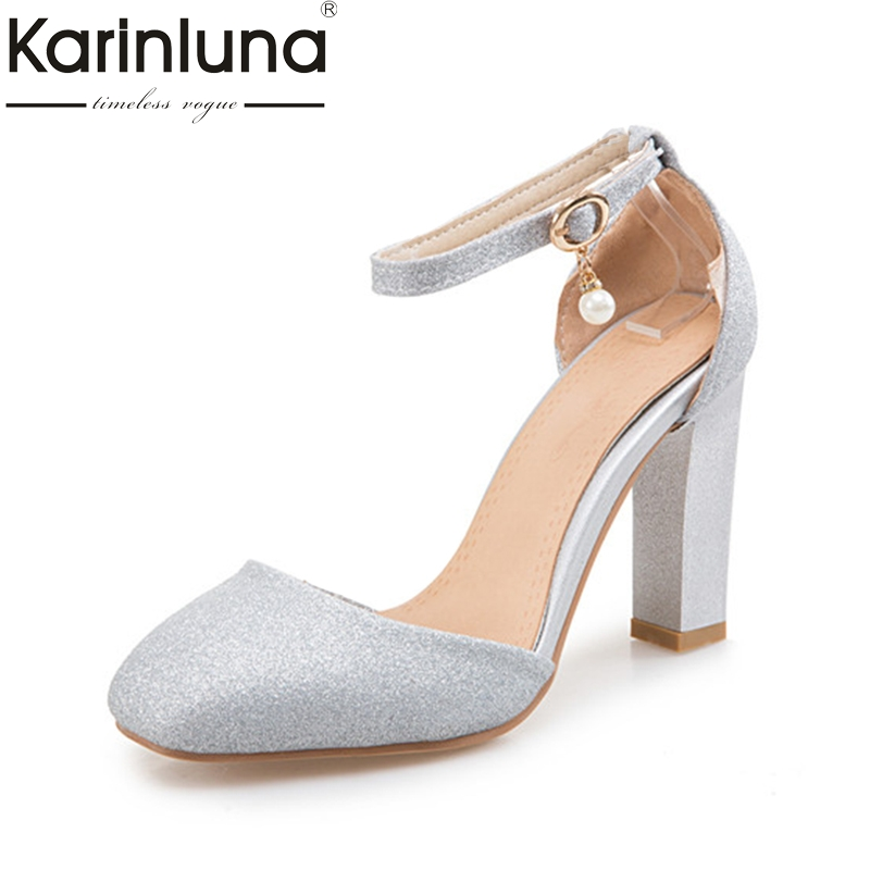 Karinluna 2018 brand new small big size 31-47 customize party sandals women shoes sexy high heels bling wedding shoes woman