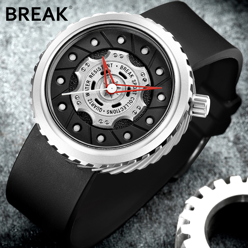 BREAK Lyxvarumärken Män Crazy Speed ​​Sportklockor Mäns Gummi Rem Casual Fashion Geek Creative Gift Analog Quartz Armbandsur