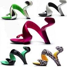 Las mujeres abierto del dedo del pie de tacón alto y extraño gladiador sandalias Sexy de moda forma de serpiente zapatos de a WYP 160405