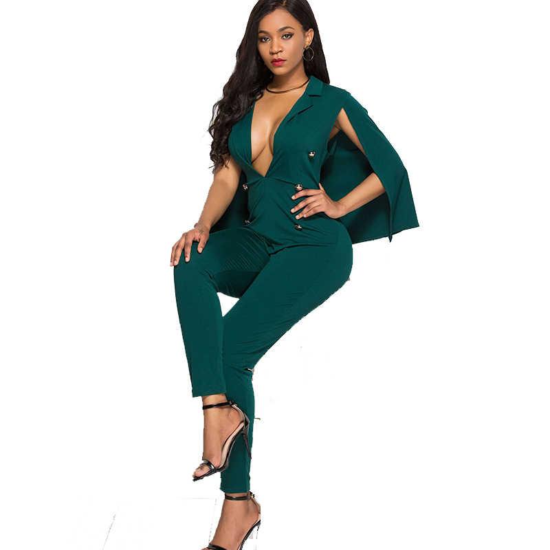 fc1b39cfec32 Formal Cloak One Piece Jumpsuit Turn Down Collar Sleeveless V-Neck Bodysuit  Blazer Rompers Women