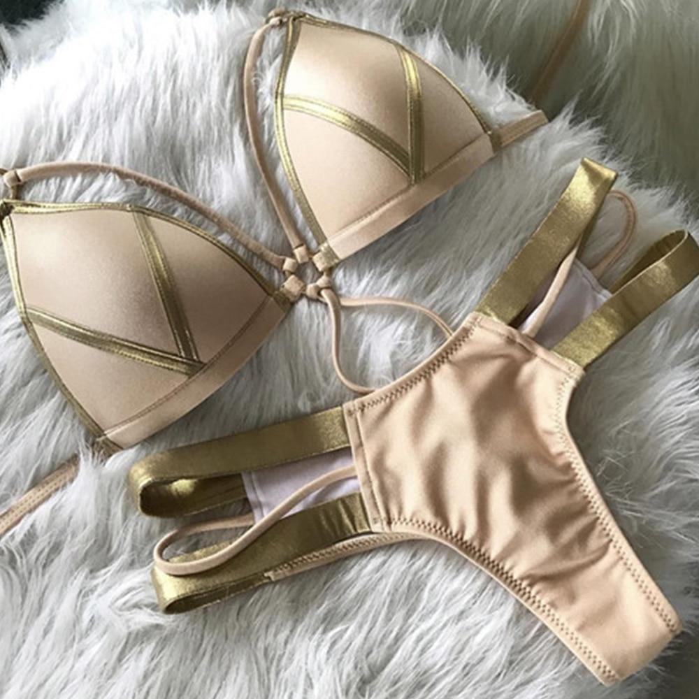 Nueva Sexy Bikini mujeres traje De baño 2018 Bandage Bikinis Set Push Up traje De baño Biquinis Maillot De Bain traje De baño Beachwear