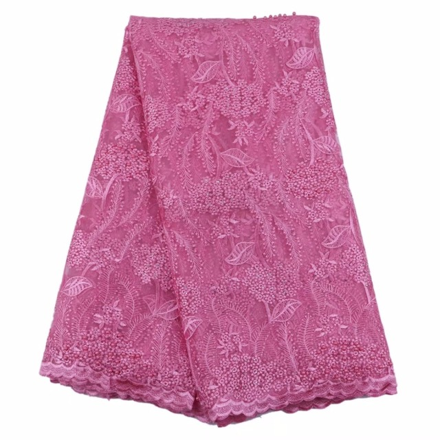 pink french lace fabric with beads and stones mesh tulle high quality nigerian lace fabrics for wedding 2017 5yard/lotHF-24
