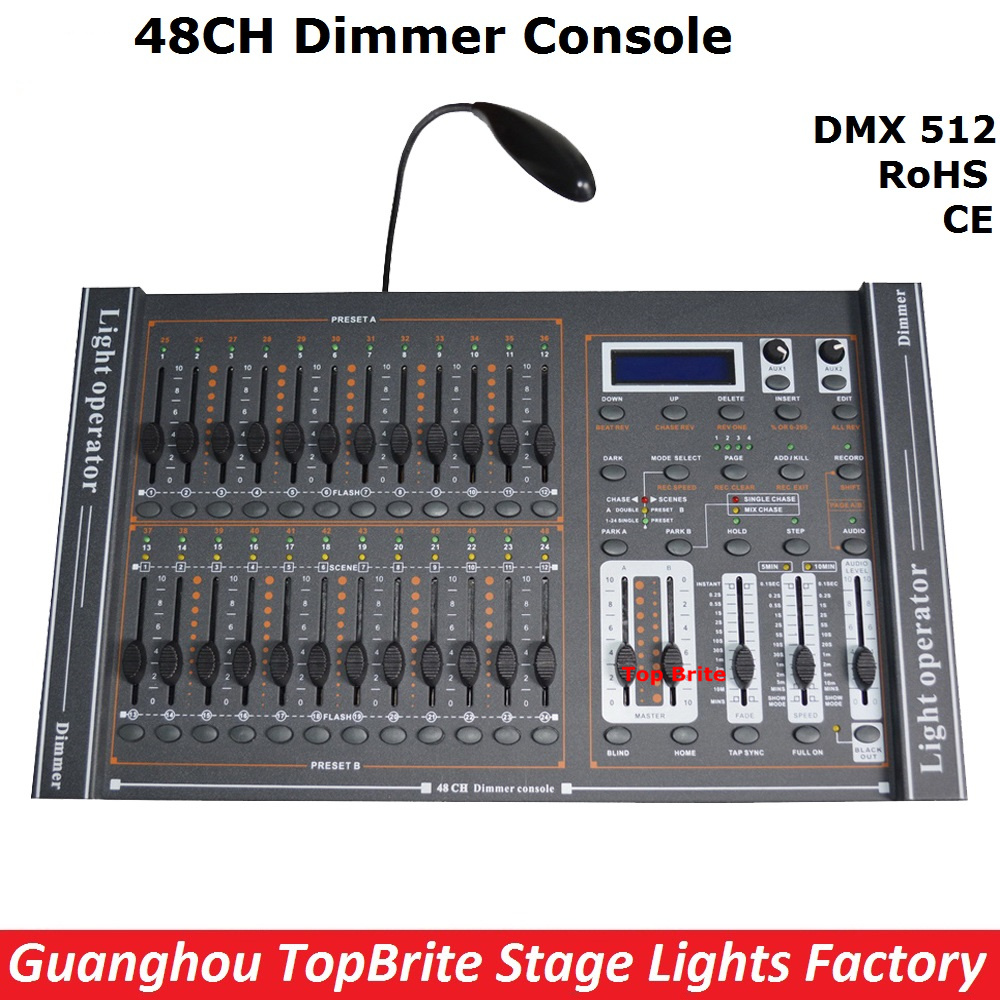 2017 New Arrival 48CH Dimmer Console 48 Channels DMX512 Controller Professional Stage DJ Disco Lighting Equipments Free Shipping lightme professional stage dj dmx stage light 192 channels dmx512 controller console dj light for disco ktv home party night