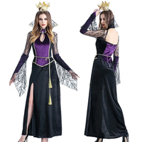 2018 New High Quality Large Size Halloween Vampire Queen Costume Female Adult Sexy Long Dress Fashion Party Witch Devil Long Sle