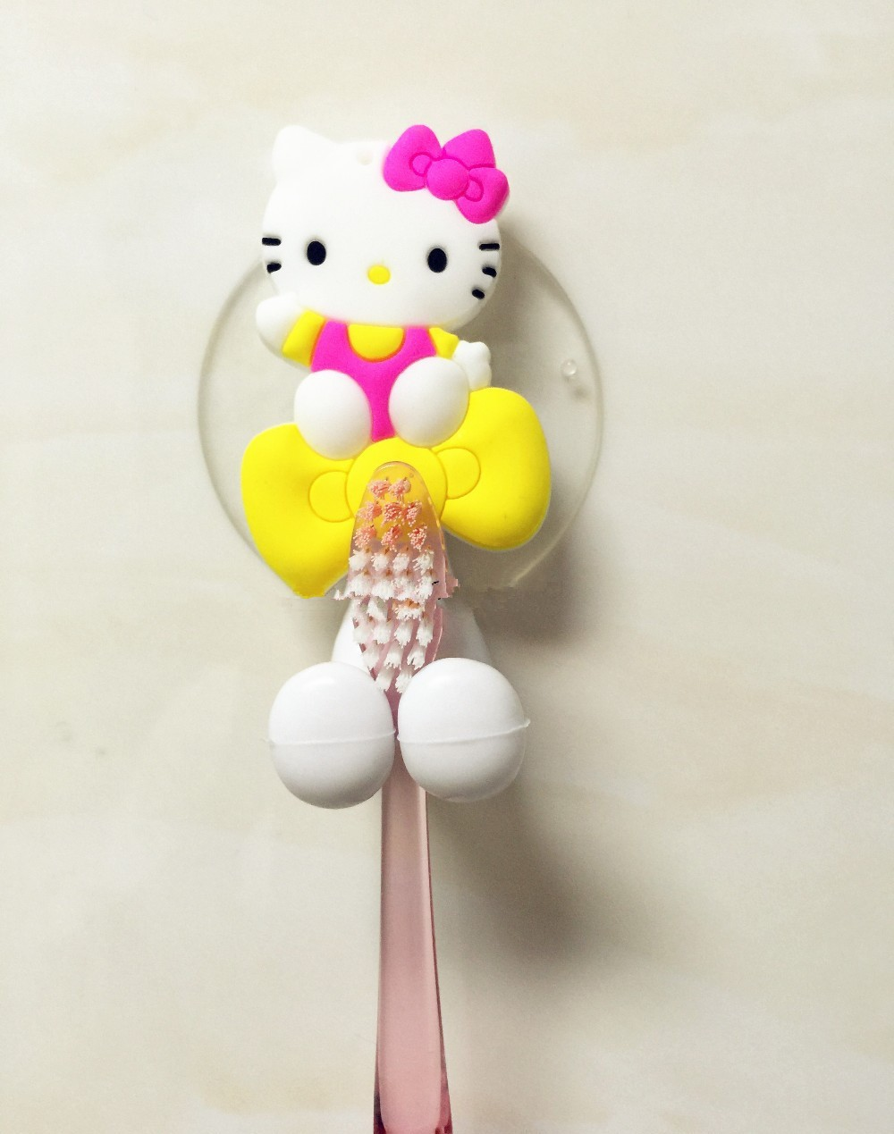 Hello kitty bathroom accessories - Cute Minion Hello Kitty Cartoon Suction Cup Toothbrush Holder Hooks Bathroom Set Accessories Eco Friendly