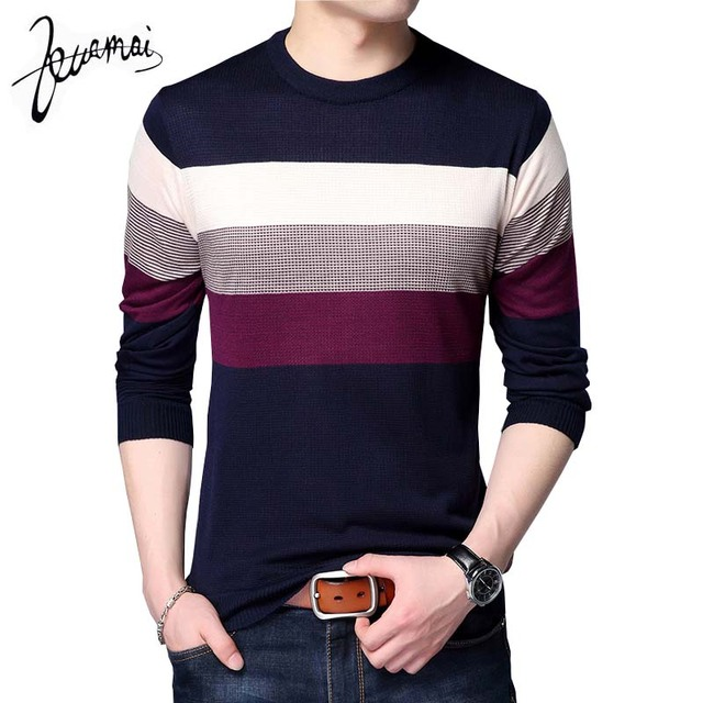 2018 новый осень модный бренд свитер для повседневной носки в полоску с круглым вырезом Тонкий Социальные Fit Тонкий Для мужчин свитера и пуловеры Для мужчин пуловер Для мужчин
