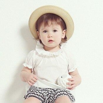 0-30 М Сладкий Дети Новорожденных Девочек Блузка С Коротким Рукавом Хлопок Лето Белый Топы Рубашки