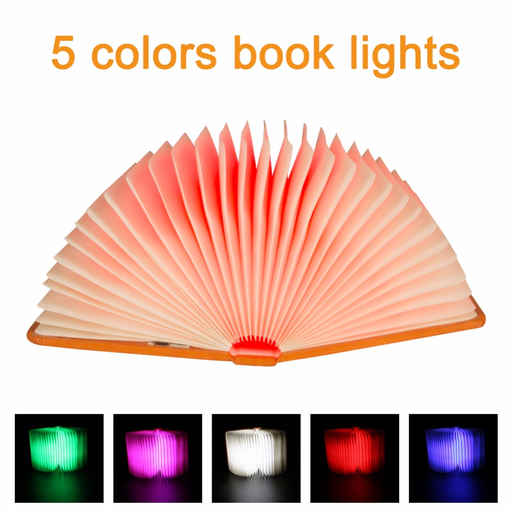 Creative Foldable Pages Folding Led Book Shape Night Light Lighting Lamp Bærbart Booklight Usb Oppladbart Book Book Light