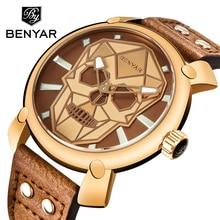 цена на Relogio Masculino BENYAR Gold Skull Watch Mens Watches Top Brand Luxury Fashion Leather Quartz Wristwatch Clock Men Montre Homme