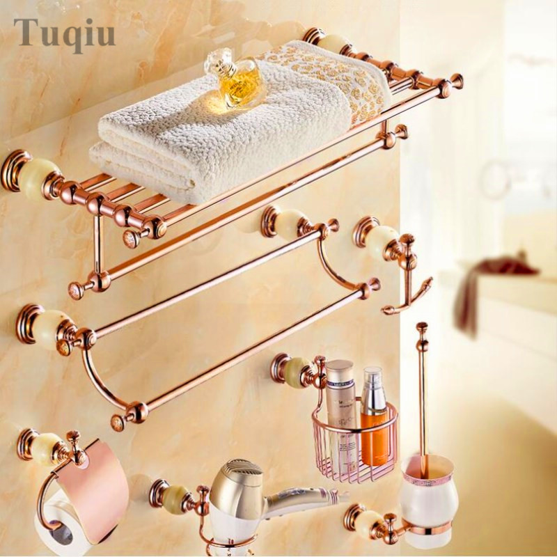 brass and Jade Rose Gold Bathroom Accessories Set,Paper Holder,Towel Bar,Soap basket,towel rack,hook bathroom Hardware set european towel rack paper holder hooks bath hardware set copper racks rose gold ceramic base bathroom hardware accessories ym6