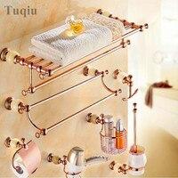 brass and Jade Rose Gold Bathroom Accessories Set,Paper Holder,Towel Bar,Soap basket,towel rack,hook bathroom Hardware set