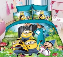 green Cartoon minions printed bedding sets Children bedroom decor single twin size bed sheets quilt duvet covers 3pcs no filler