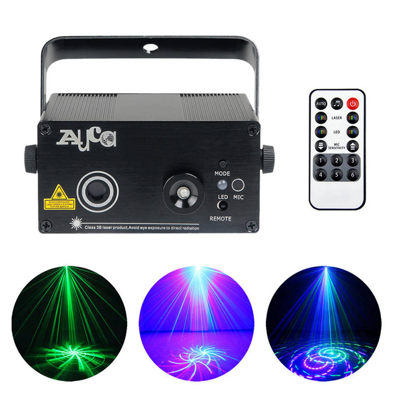 AUCD Mini 12 Green Blue Pattern Laser Projector Light 3W Blue LED Mixing Effect DJ Home Party Holiday Show Stage Lighting Z12GB 3 lens 36 patterns rg blue mini led stage laser lighting professinal dj light red gree blue