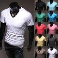 2016 Новый Бренд Одежды Повседневная Сплошной цвет V шеи короткий рукав Футболки M/L/XL/XXL Оптовая PT30