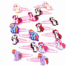 10Pcs Cute Girls My Little Horse Baoli Poni Kids Hairpins Flower Hair accessories Hairclip Children Headwear Hair pins Tiaras(China)