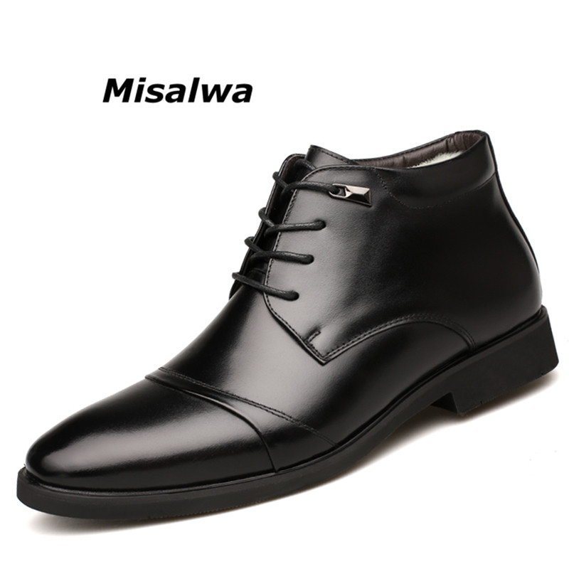цены Misalwa Men's Bangor Memory Foam Comfort Chukka Boot Men Snow Boots Winter Split Leather Plush Shoes Non-slip Lace up Dress Flat