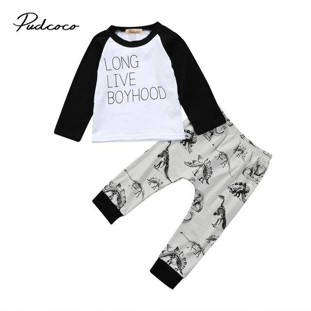 d2a0e9c3d 2pcs Kids Boy Clothing Toddler Kids Baby Boys Dinosaur Long sleeve T-shirt  Tops Tee Long Pants Cotton Clothes Outfits Set 1-6T