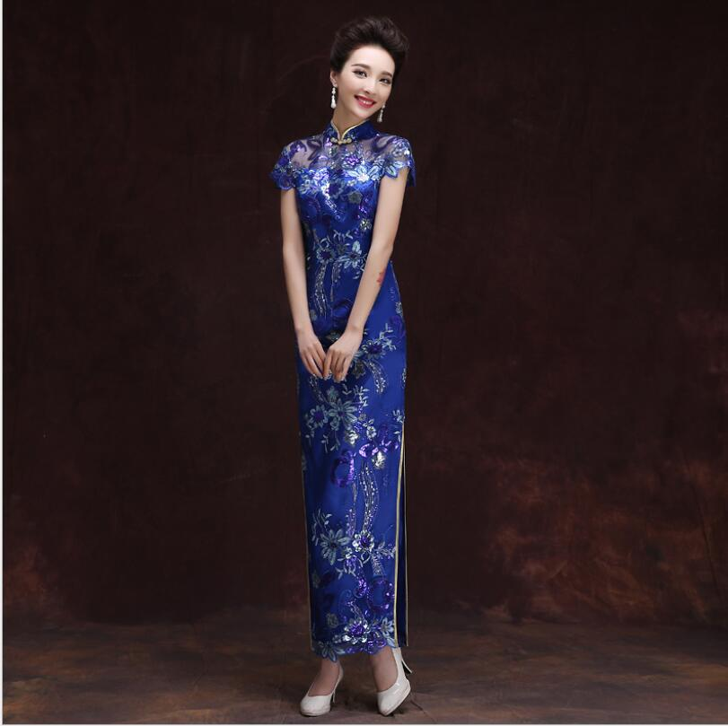 2017 New Women Blue Banquet long Cheongsam High quality Chinese Qipao for Party Dress Female show Costumes