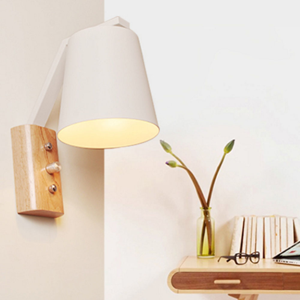 simple wood art wall lamp reading light wall mounted bedroom