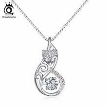 Orsa jewels lindo 925 silver fox pedante collares encanto muebles insertar 1ct cz diamond rodio joyería de plata esterlina sn53