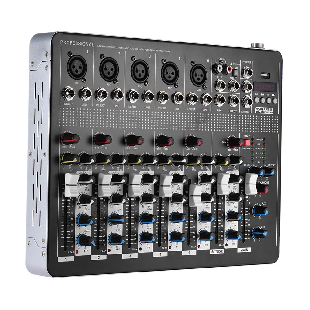 buy high quality 7 channel mic line audio mixer mixing console with 3 band eq. Black Bedroom Furniture Sets. Home Design Ideas
