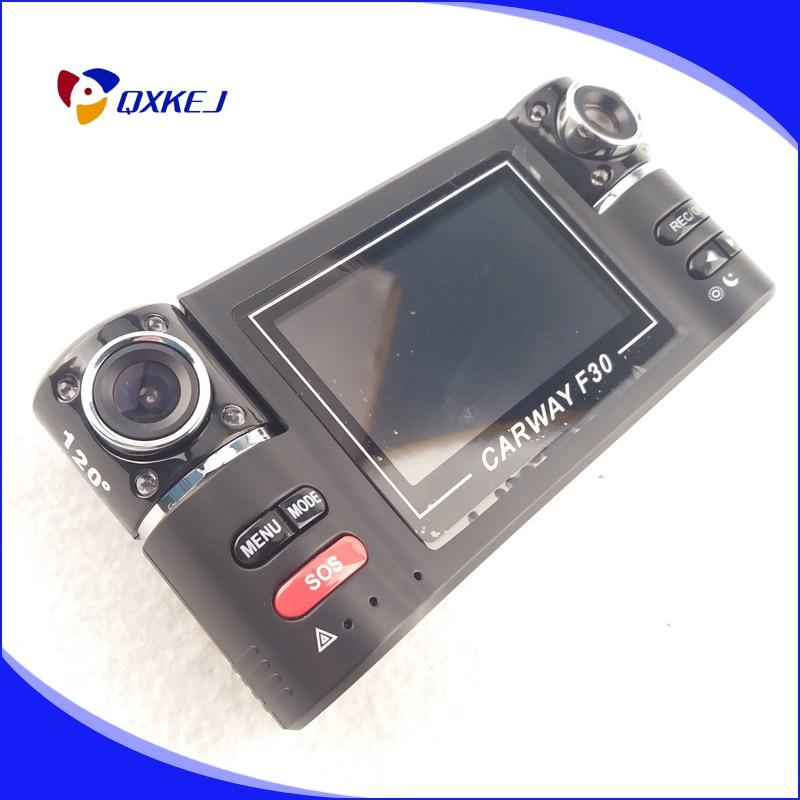 Trainshow Промотирования двойной объектив камеры автомобиля автомобиль DVR тире камерой два объектива видеорегистратор f30 с вращать объектив видеокамеры ночного видения