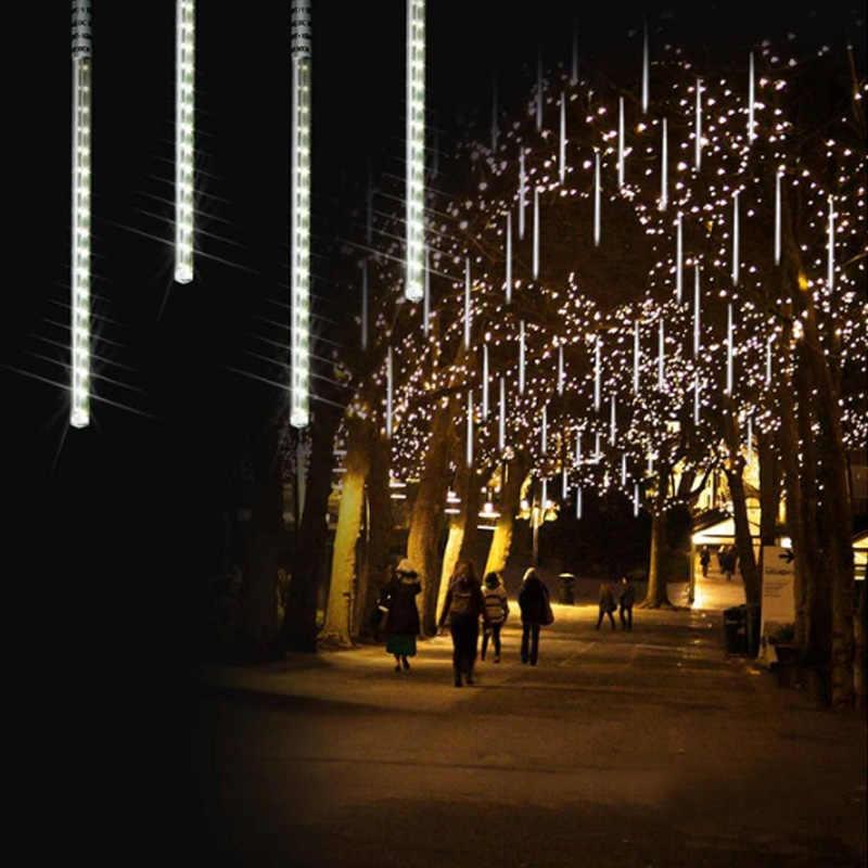 Многоцветный EU штекер 220 В 110 в 30 см 50 см метеоритный дождь трубы декоративные светодиодные наружные гирлянды Фея Рождественская елка