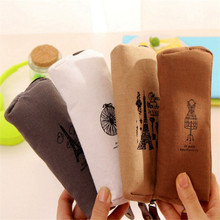 New Retro Towers Linen Pencil Bag Students Paris Style Pencil Cases Stationery School Supplies Coin Purse Travel Cosmetic Bags new paris style