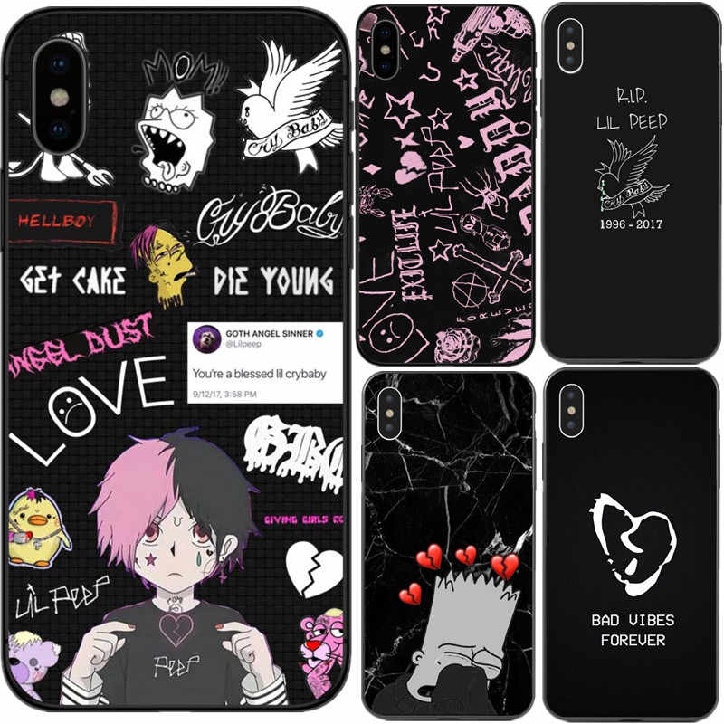 Xxxtentacion lil peep cry baby rose bad vibes 영원히 tpu 전화 케이스 커버 iphone x 5 5 s se 6 6 s plus 7 8 plus xs xr xs max