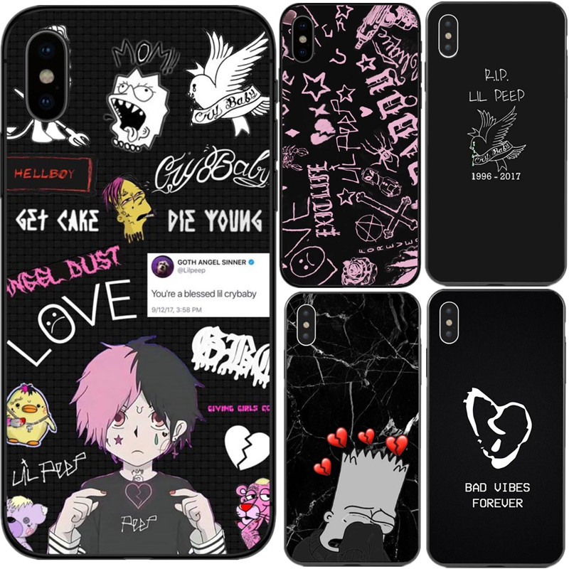 <font><b>xxxtentacion</b></font> Lil Peep cry Baby rose bad vibes forever TPU Phone <font><b>Cases</b></font> Cover for <font><b>iPhone</b></font> X 5 5s SE <font><b>6</b></font> 6s Plus 7 8 Plus XS XR XS MAX image