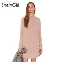 SheInGirl Apparel Solid Color Women Mini Dress O Neck Full Sleeve Lace Up Belt Ruffle Lady